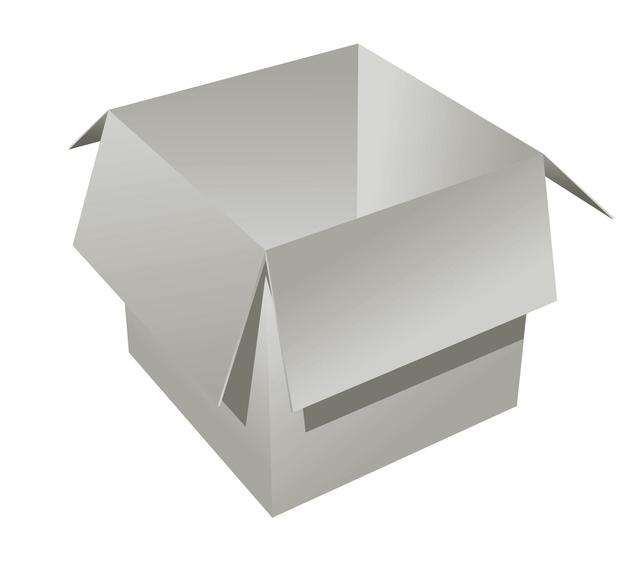 otevřená papírová krabice